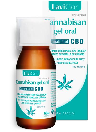 Imagen del tubo y el estuche de Cannabisan Gel Oral de Laboratorios Lavigor