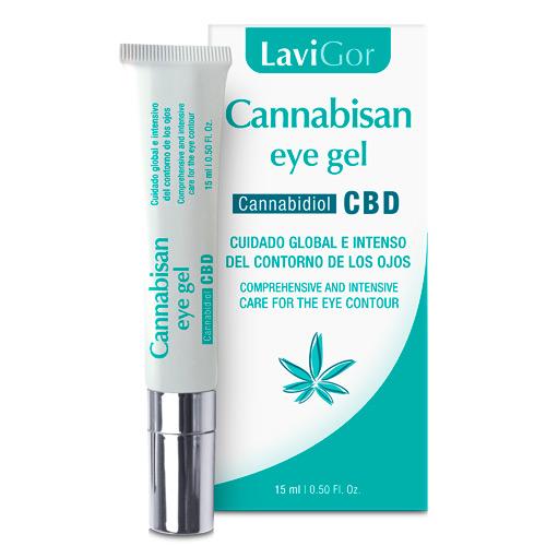 Imagen del tubo y el estuche de Cannabisan eye Gel de Laboratorios Lavigor