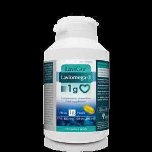 Bote Laviomega 3 1 gramo en capsulas con complemento alimenticio.
