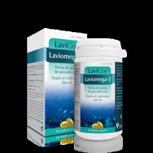 Bote Laviomega 3 en capsulas con complemento alimenticio.