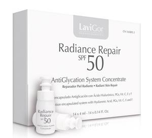 Envase de Radiance Repair SPF 50, concentrado facial reparador