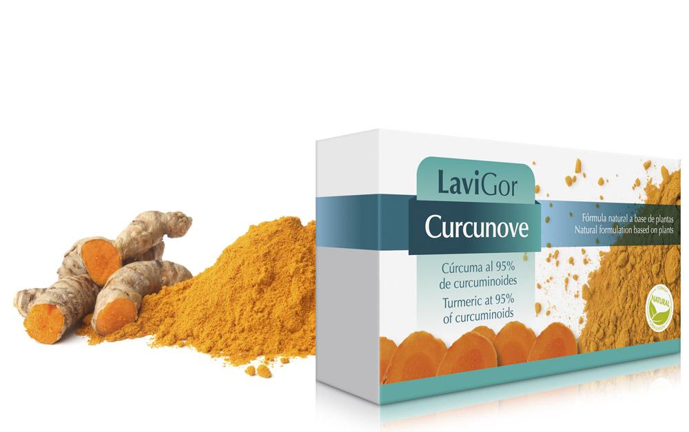 Envase Curcunove de Lavigor, suplemento de cúrcuma con activos con propiedades biológicas